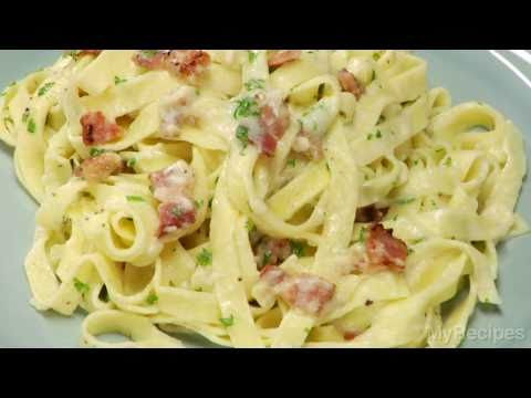 How To Make Fettuccine Alfredo with Bacon In 20 Minutes