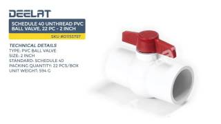 Schedule 40 Unthread PVC Ball Valve, 22 Pc - 2 inch
