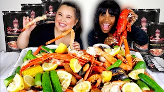 KING CRAB LEGS + SHRIMP + MUSSELS + SNOW CRAB SEAFOOD BOIL WITH BLOVESLIFE MUKBANG 먹방 EATING SHOW!