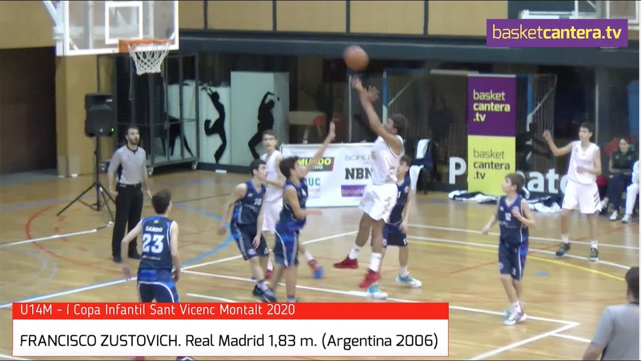 FRANCISCO ZUSTOVICH (Argentina 2006) Infantil Real Madrid 1,83 m. Copa Sant Vicenç Montalt (BasketCantera.TV)