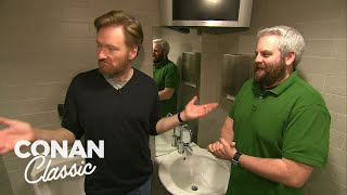 """Conan Fixes An Issue In The """"Late Night"""" Men's Bathroom   Late Night with Conan O'Brien"""