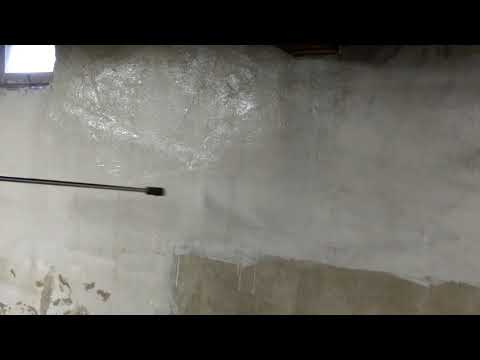 Power washing a basement (before painting)