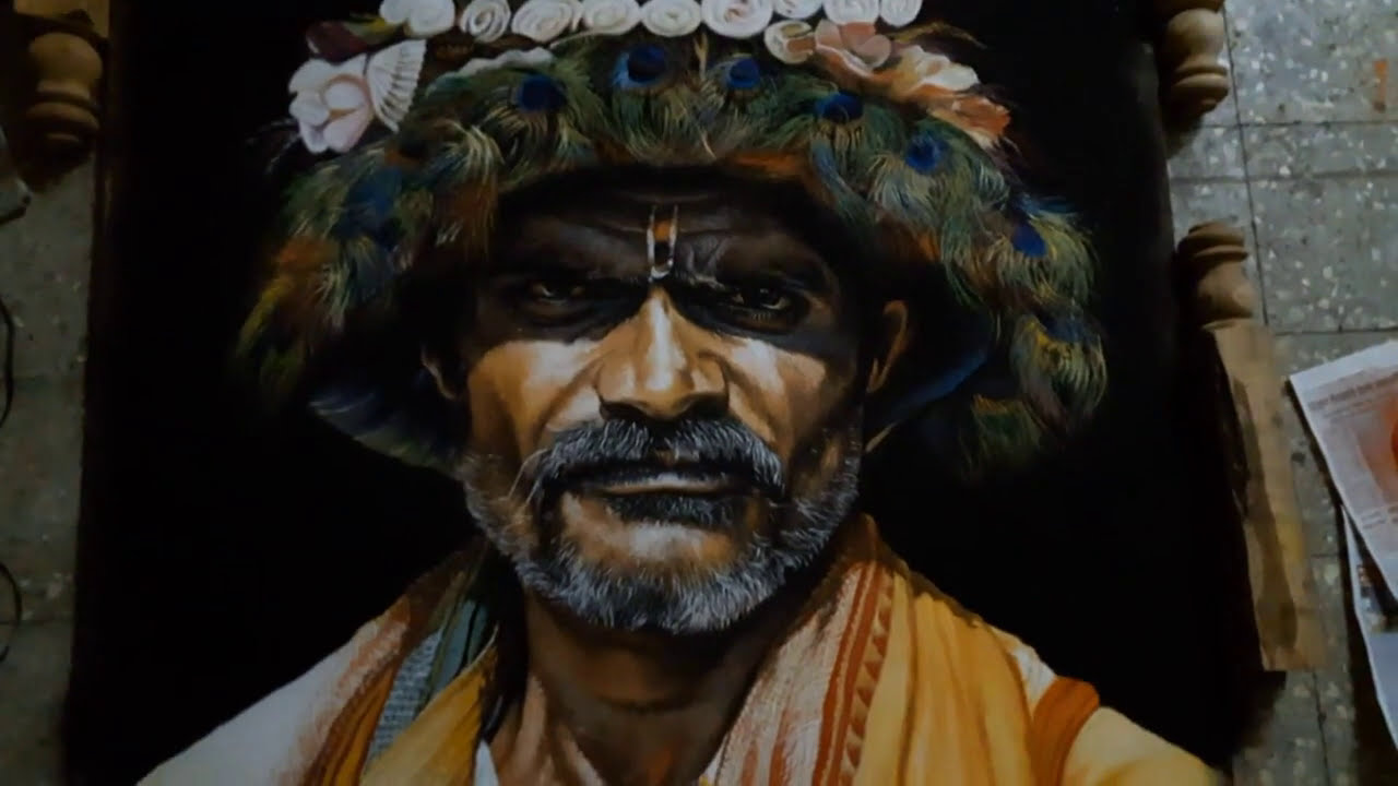hyper realistic portrait rangoli design tribal by kartik khadatkar