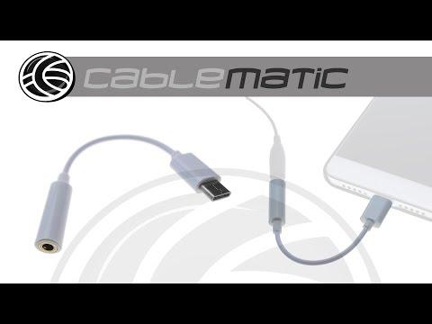 Adaptador auriculares USB-C 3.1 macho a minijack 3.5mm hembra 12cm distribuido por CABLEMATIC ®