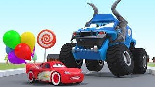 Colored Balloons Cartoon Monster Trucks Lightning Mcqueen Animation