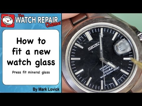 How to fit a new watch glass using a glass press. Seiko mineral glass repair.