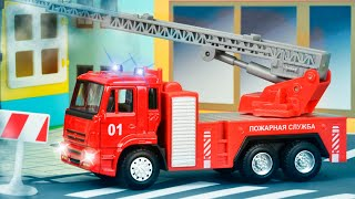 The Red Fire Truck with The Police Car | Emergency Cars Cartoon for kids
