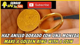 💍COMO HACER ANILLO DORADO CON UNA MONEDA 💍HOW TO MAKE A GOLDEN RING WITH A COIN | LIKE2HACKS