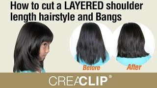 How To Cut A LAYERED Shoulder Length Hairstyle And Bangs- Kids