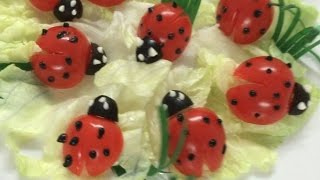 Beautiful ladybug   How to Make Tomato Decoration   By Just For Fun In Fruit And Vegetable Carving