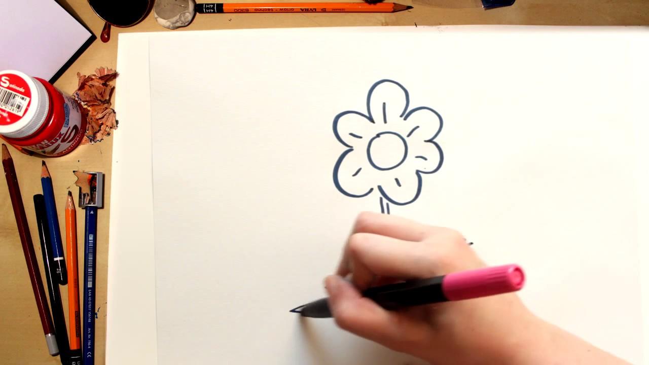 Como desenhar uma flor Margarida - desenhos para crianças