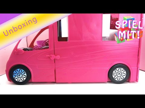 Barbie glam camper swimming pool review deutsch - Barbies riesiges Wohnmobil Unboxing