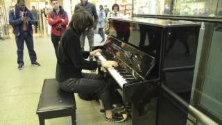 playing Toxicity on Elton John's piano at St. Pancras Station - London