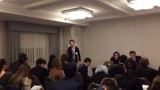 Henry giving a speech at his BosMUN 2018 committee MI6