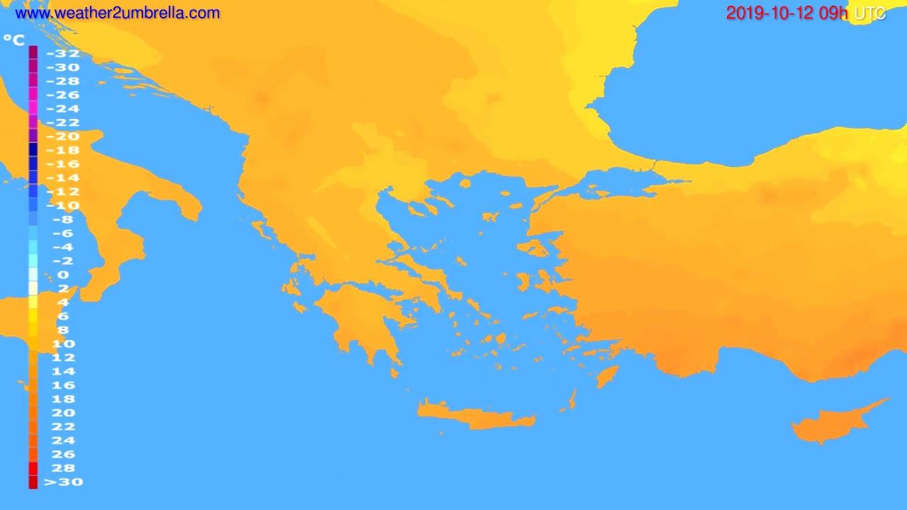 Temperature forecast Greece // modelrun: 12h UTC 2019-10-10