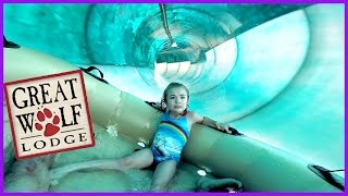 LITTLE GIRL BRAVES HUGE RIDE AT GREAT WOLF LODGE WATER PARK