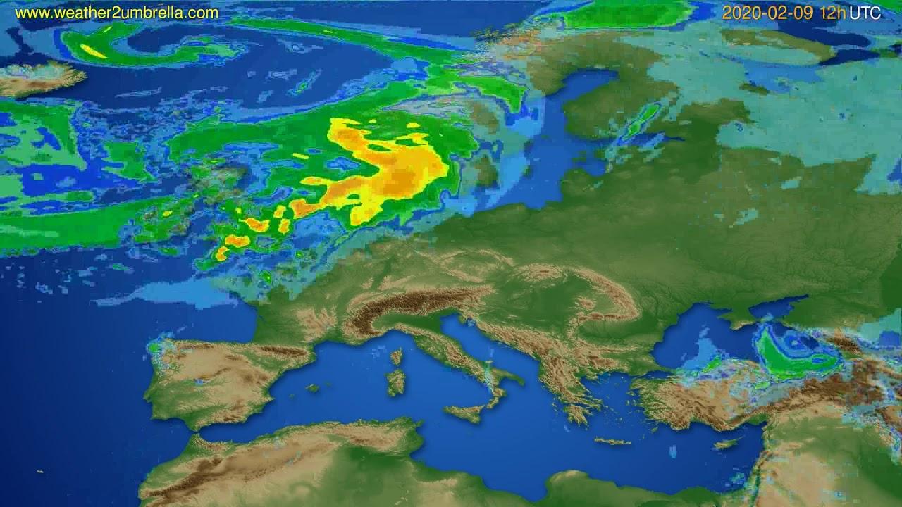Radar forecast Europe // modelrun: 00h UTC 2020-02-09