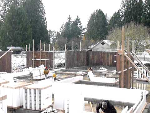 Fox Blocks on a cold snowy day in Canada large scale residential foundation project