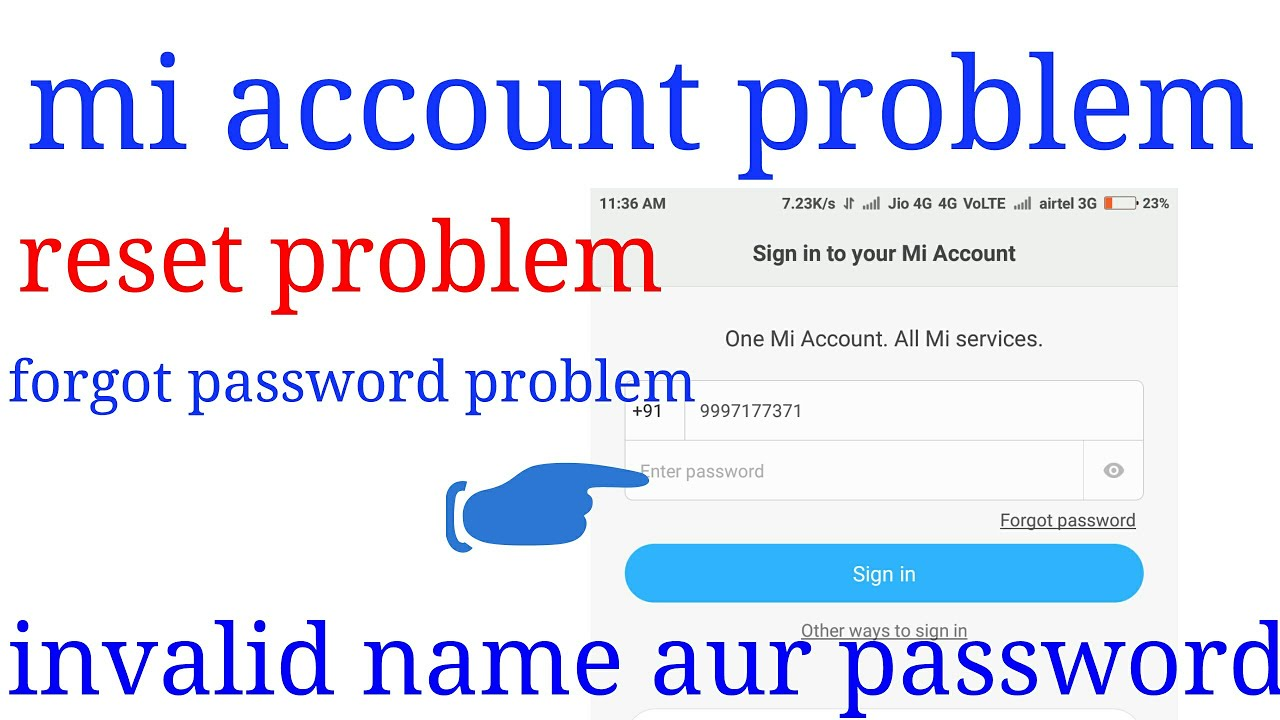 Mi account error sign in and reset your phone and sign out