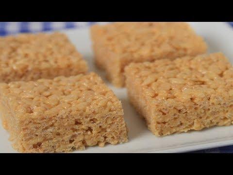 Peanut Butter Rice Krispies Treats Recipe Demonstration - Joyofbaking.com