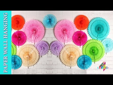 DIY: Paper ceiling / wall hanging Designer Flowers -Party / Home Decoration #DiwaliSpecial