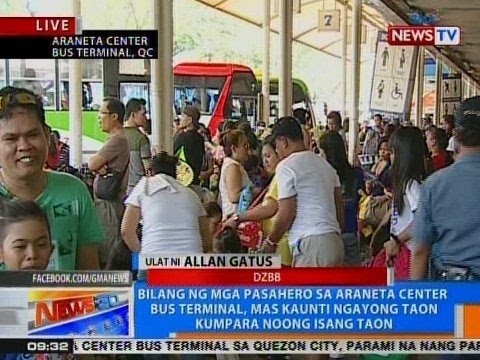 NTG: Bilang ng mga pasahero sa Araneta Center Bus Terminal, mas kaunti ngayong taon