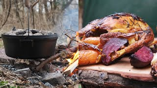 How To Cook DUTCH OVEN WHOLE CHICKEN! Campfire Recipe, Outdoor Cooking! Easy And Delicious!