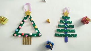 DIY Popsicle Stick Christmas Crafts For Kids/Popsicle Sticks Christmas Tree Ornaments
