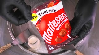 Maltesers Chocolate Ice Cream Rolls | fried Ice Cream with maltesers Buttons | satisfying ASMR food