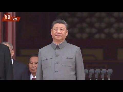 习近平等党和国家领导人来到天安门城楼主席台