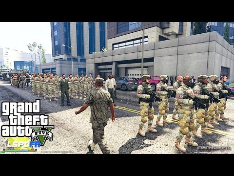 GTA 5 PLAY AS A COP MOD - MILITARY TAKEOVER!! MARTIAL LAW