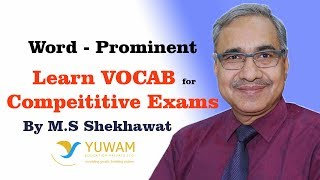 PROMINENT | Yuwam | High Level Vocab | English | Man Singh Shekhawat | Vocab for Competitive Exams