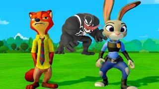 Лис Ник и Зайка Джуди против Венома Мультик игра для детей про Машинки Тачки Дисней