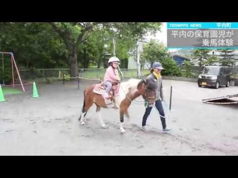 平内の保育園児が乗馬体験