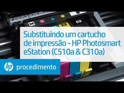 Substituindo um cartucho de impressão - HP Photosmart eStation (C510a & C310a)