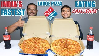 2 X LARGE DOMINO'S PIZZA EATING CHALLENGE   Domino's Large Pizza Eating Competition   Food Challenge