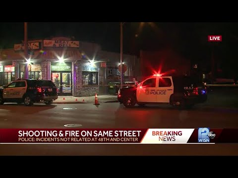 Shooting and fire one block apart