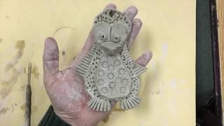 Kids Art Project   Clay Penguin Relief Sculpture