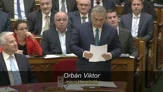 Orbán Viktor válaszai és viszontválaszai az azonnali kérdések órájában. Parlament, 2019. november 18