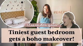 TINIEST GUEST BEDROOM GETS A BOHO MAKEOVER | Boho Bedroom Makeover!
