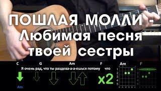 ПОШЛАЯ МОЛЛИ - Любимая песня твоей сестры РАЗБОР ПЕСНИ АККОРДЫ И БОЙ