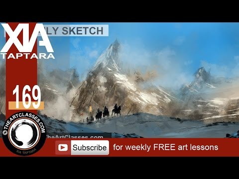 digital concept art tutorial mountains