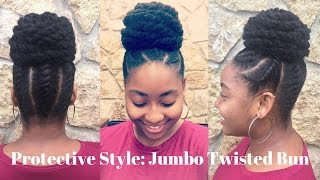Jumbo Twisted Bun | 4C Protective Natural Hairstyle (As Told By Her)