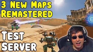3 New REMASTERED MAPS - War Robots Test Server Gameplay WR