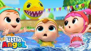 Baby Shark Doo Doo   Swimming Pool Games   Little Angel Kids Songs