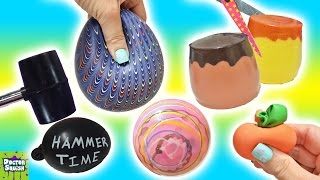 Cutting Open Squishy Toys! ALL Homemade! Surprise Squishy Pudding Stress Balls Doctor Squish