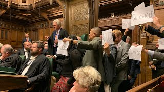 video: Chaos in Parliament: Speaker 'held in chair' as opposition MPs protest prorogation of Parliament