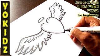 ציור לב עם כנפיים