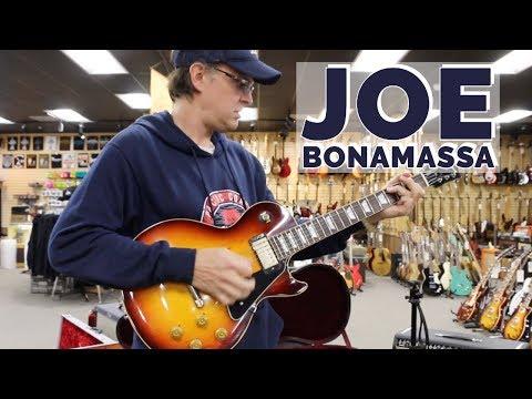 Joe Bonamassa with his Gibson Prototype Les Paul Tobacco Burst at Norman's Rare Guitars