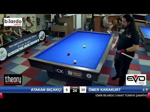 ATAKAN BIÇAKÇI & ÖMER KARAKURT Bilardo Maçı - İZMİR BİLARDO 3 BANT TÜRKİYE ŞAMPİYONASI-2. Tur